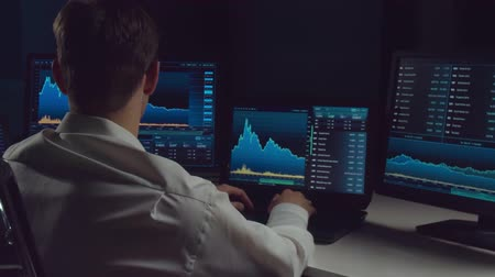 iş istasyonu : Broker working in office using workstation and analysis technology. Workplace of professional trader. Global financial markets, business strategy, currency exchange and banking.