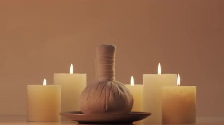 towel white : Oriental massage treatment composition. Spa procedures, meditation, wellbeing and aromatherapy. Stock Footage