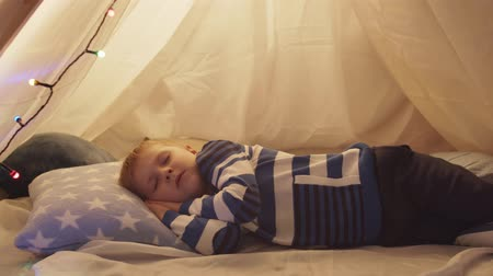 chata : Little boy sleeping in childrens tent at home. Happy caucasian kid in the playroom. Dostupné videozáznamy