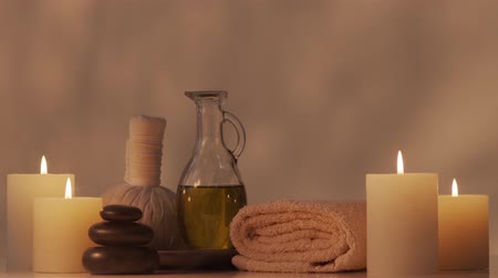 towel white : Spa background composition. Massage, oriental therapy, wellbeing and meditation.