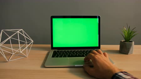 notebooklar : Close up shot of man hands typing on laptop with green screen at the office table. Chroma key. Stok Video