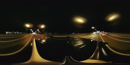 grãos : 360 video of night drive over bridge