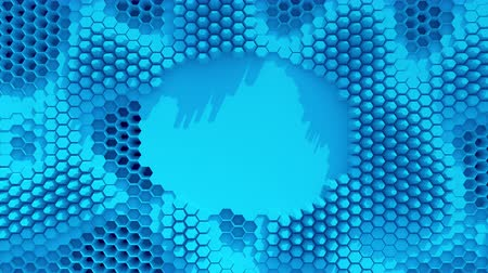 alchemy : Abstract blue crystallized background. Honeycombs move like an ocean.