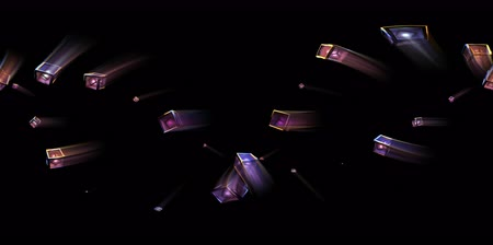 espectador : Cubes with light cores inside fly around the viewer. 360 VR loop with alpha. 3D Rendering.