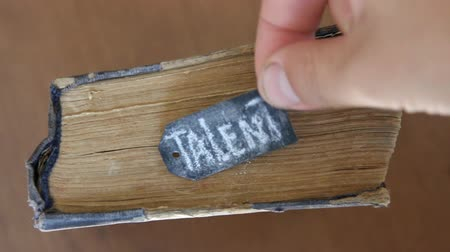 талант : Talent tag and the inscription in chalk