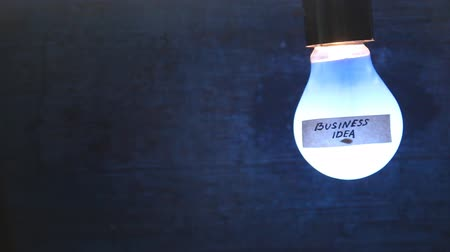 bulbo : light bulb with an inscription on the label Business idea