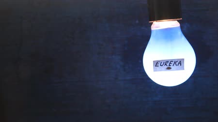 bulbo : light bulb with an inscription on the label eureka Vídeos