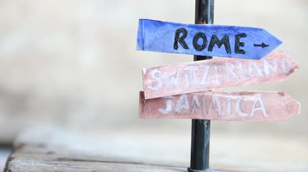 jamaica : Direction to different places of the world. Rome, Switzerland, Jamaica.