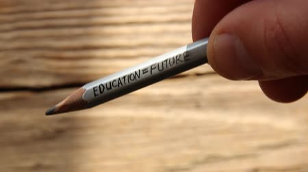 przyszłość : Education Future words on gray pencil