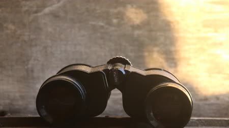 vizyon : Vision word on binoculars. Sunset.