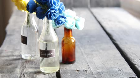 sayesinde : Thank you label and flowers in the bottles