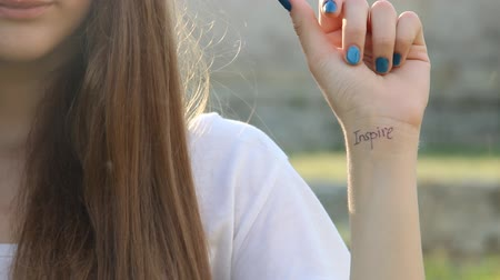 motivasyonel : Inspire. The inscription on the hand. Imagination, life style idea. Stok Video