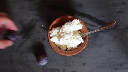 twaróg : farmers cheese, curd cheese or cottage cheese in bowl on table and plums