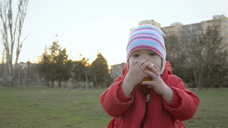 piknik : Happy little girl eating apple in park at sunset. Happy family in park. Rest in city park.
