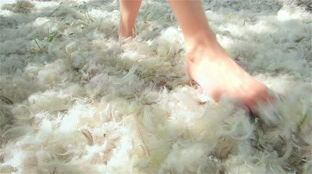 blurring : Feet of girl in feathers in wind
