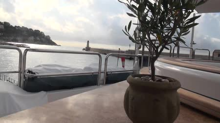 convés : View of a port from the deck of yacht