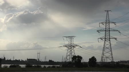 nuclear accident : Atomic power plant, Background Electric Poles farm Stock Footage
