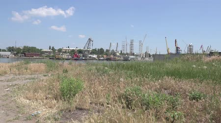 dry zone : Dry grass on background of stones shipbuilding cranes river Stock Footage