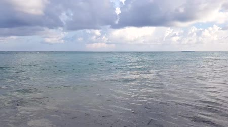 time laps : Maldives, Indian Ocean. Gorgeous view of tropical landscape. White sand and light turquoise water with blue sky and white clouds. Time lapse