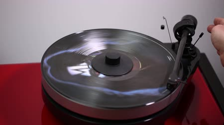compact disc : Close up view of audio record player.