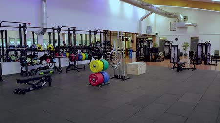 ağır çekimli : Beautiful view of well equipped fitness center. Healthy lifestyle concept. Enkoping. Sweden 02102019