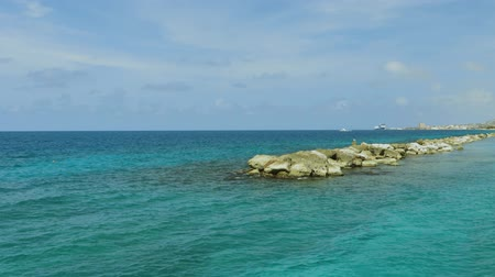 Beautiful view of coast line of Atlantic ocean on Curacao island. Gorgeous nature landscape backgrounds. Caribbean.