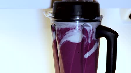 mixer : Close up view of blender with ingredients for smoothie. Healthy lifestyle concept. Vegetarian
