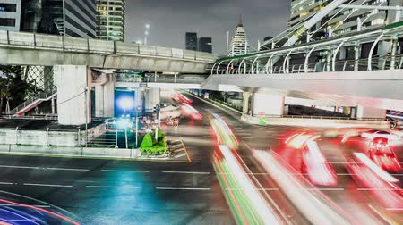 night : Night scene traffic in Bangkok city , Thailand Stock Footage