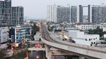 converge : Busy traffic in Bangkok city , Thailand Stock Footage