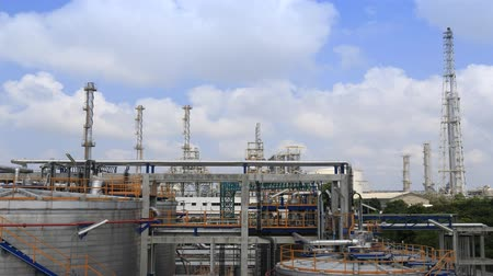 gas : Petrolume refinery plant with blue sky , 4k Timelapse video Stock Footage