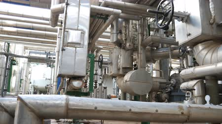 pipelines : Process area of oil refinery industrial factory by camera panning