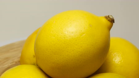 extreme close up : Yellow lemon with sour taste, citrus fruit, vitamins for healthy diet