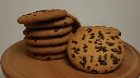 stacks : Tasty chip cake cookies with chocolate pieces shallow close-up