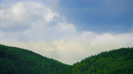 cloud scape : Mountaine with forest. Nature timelapse Landscape with Beautiful blue sky with clouds Stock Footage