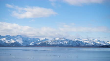 none : Timelapse of the Iceland mountains with sky range seen from the Ice Lake with birds and temple and rocks in clear day Stock Footage
