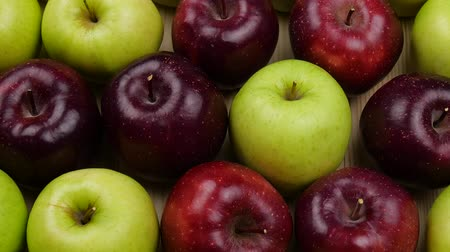 bad ecology : Fresh nature apples background. Natural Apple harvest from tree. Grocery store, department of fruits and vegetables. Stock Footage