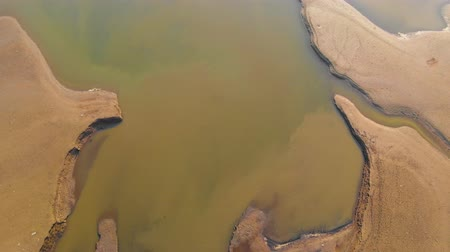 discarded : Environmental Problems, Polluted shore, shot with a drone. The pollution of the planet