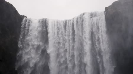 skogafoss : Waterfall close up slow motion, Skogafoss Iceland