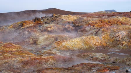 fumarole : Geothermal activity, Hot steam erupts from the ground, Iceland, Martian landscape