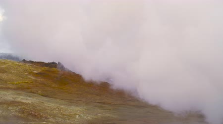 fumaroles : Martian landscape Geothermal activity, Hot steam erupts from the ground, Iceland,