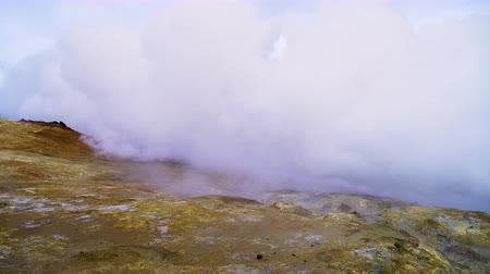 fumarole : Martian landscape Geothermal activity, Hot steam erupts from the ground, Iceland,