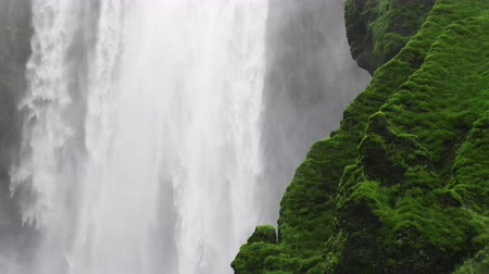 skogafoss : Waterfall. Powerful and beautiful waterfall in Iceland Skogafoss Stock Footage