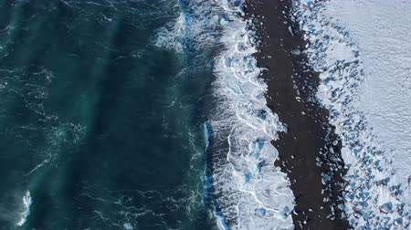 Winter snowy iceberg landscape, Ice washing by Ocean Global warming Concept Videos