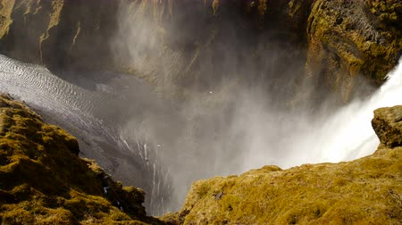 Mountaine canyon with river and Waterfall. Nature Iceland landscape background.