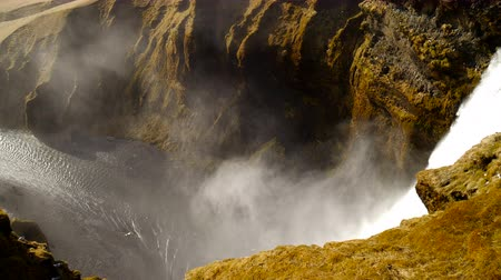 skogafoss : Mountaine canyon with river and Waterfall. Nature Iceland landscape background.