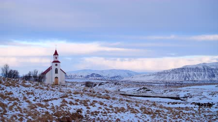 Church Timelapse in Iceland, Sky with clouds, Religion concept