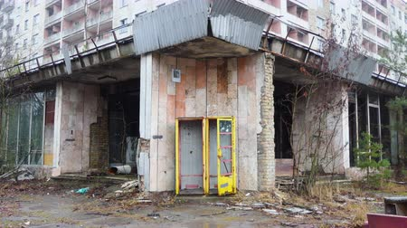 danger of collapse : Chornobyl old abandoned city, Abandoned house in the exclusion zone in Chernobyl, the city of Pripyat. April Stock Footage