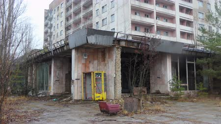reactor : Chornobyl old abandoned city, Abandoned house in the exclusion zone in Chernobyl, the city of Pripyat. April Stock Footage