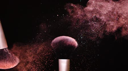 Colour Paint Concept, Make up brush with powder Slow Motion