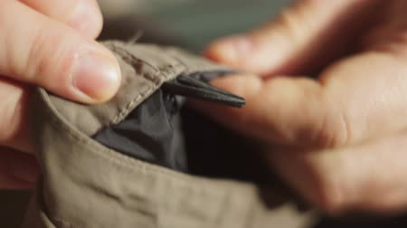 шов : Close-up Tailor repairing clothes Стоковые видеозаписи